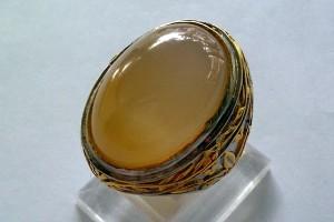 Batu Bacan Obi Putih Kristal 37ct Cincin Perak Italy