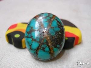 Batu Pirus Super - Batu Akik Pirus Tapak Jalak Urat Emas Super