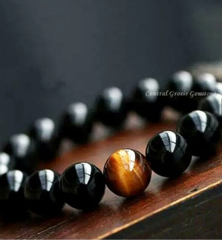 Gelang Batu Natural Black Onyx Tiger Eye