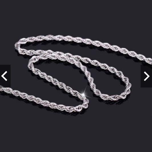 Kalung Titanium Stainless Steel Silver Motif Tambang