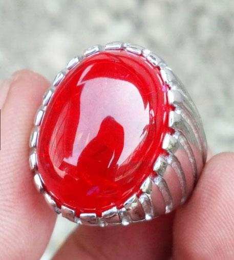 Batu Cincin Merah Siam Pecah Seribu Plus Ring